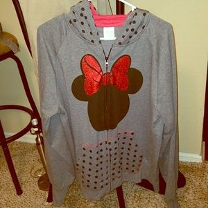 Disney Minnie Mouse Gray Hoodie XL Polka Dot